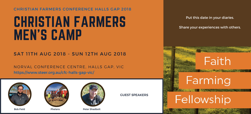 Christian Farmers Men's Camp – Halls Gap (11th-12th Aug 2018)